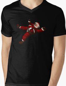 Christmas Santa Space Man Astronaut in Orbit Mens V-Neck T-Shirt