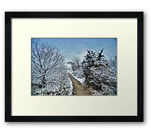 Cape Cod : First Snowfall on the Path Framed Print