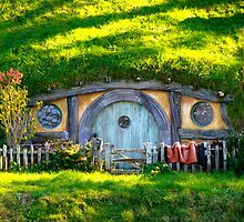 A hobbit hole at Hobbiton - New Zealand by Nicola Barnard