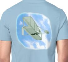 First flight, FLY, FLYING, Wright, Brothers, American, Wilbur Wright, pilots the 1902 glider over the Kill Devil Hills. Unisex T-Shirt