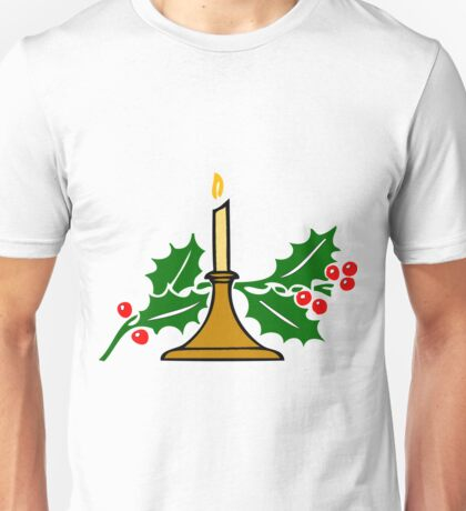 Candle and Holly Unisex T-Shirt