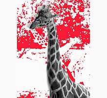 Giraffe Abstract In Red Unisex T-Shirt