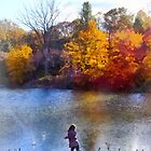 Little Girl Skipping Rocks by Susan Savad
