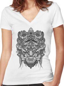 Mask Black & White Women's Fitted V-Neck T-Shirt