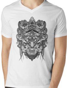 Mask Black & White Mens V-Neck T-Shirt