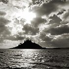 St Michael's Mount (via Philps Pasty Shop) - B&W by Mike Honour