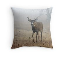 Coming through the fog - White-tailed Deer Throw Pillow
