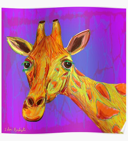 Funky Giraffe in Yellow and Orange Poster