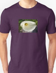 Overhead Shot of A Cream Calla Lily In Soft Focus Unisex T-Shirt