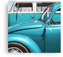 Two Turquoise VWs Canvas Print