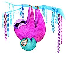 Colorful Sloths by Annya Kai
