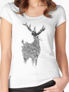 Beautiful Deer Old Women's Fitted Scoop T-Shirt