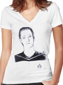 Intriguing Women's Fitted V-Neck T-Shirt