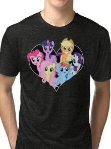 chest heart ponies  Tri-blend T-Shirt