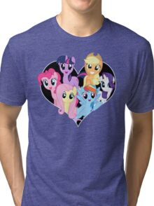 chest heart ponies  Tri-blend T-Shirt