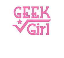 GEEK Girl cute girly pink nerd design Photographic Print