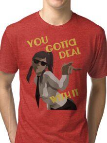 LoK - Korra Deal With It (Suit Version, No Outline) Tri-blend T-Shirt