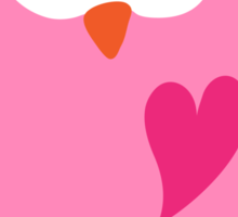 Cute pink cartoon owl with heart stickers Sticker
