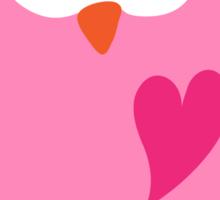 Cute pink cartoon owl with heart stickers Sticker