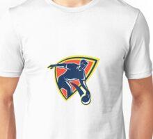 Bowler Throw Bowling Ball Shield Retro Unisex T-Shirt