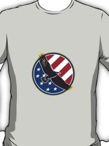 American Eagle Flying USA Flag Retro T-Shirt
