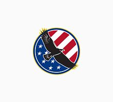 American Eagle Flying USA Flag Retro Unisex T-Shirt