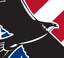 American Eagle Flying USA Flag Retro Sticker