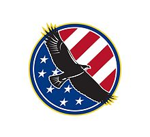 American Eagle Flying USA Flag Retro by patrimonio