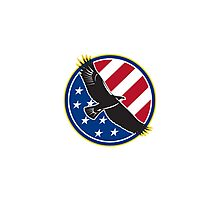 American Eagle Flying USA Flag Retro Photographic Print