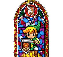 Link, Sword & Shield - Stained Glass by Vouch
