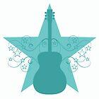 Teal Fancy Guitar Swirls Design by superstarbing