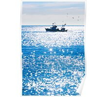Fishing boat surronded by seagulls Poster