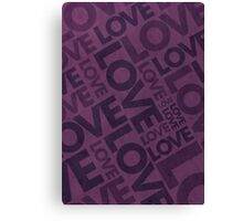 Love Typography Poster - Purple Canvas Print