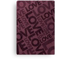 Love Typography Poster - Red/Burgundy Canvas Print