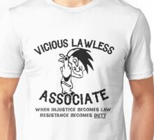 Vicious Lawless Associate - on White Unisex T-Shirt