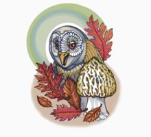 autumn barn owl, with morel Kids Clothes