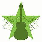 Green Fancy Guitar Swirls Design by superstarbing