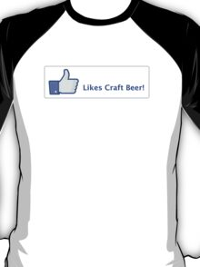 Likes Craft Beer Button T-Shirt