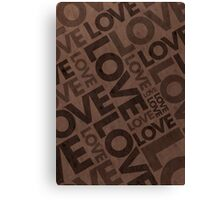 Love Typography Poster - Brown Canvas Print