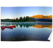 Early Morning Reflections, Lac Beauvert, Jasper Alberta, Canada Poster