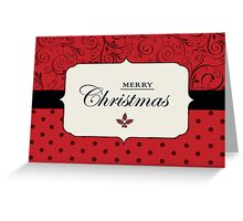 Red and Black Vintage - Merry Christmas  Greeting Card