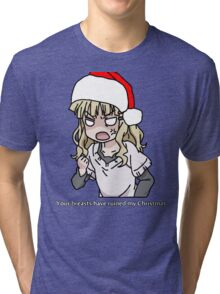 Your breasts have ruined my christmas! Hat version (Yuru yuri) Tri-blend T-Shirt