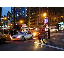 A NYC Traffic Jam at night including a food vendor  Photographic Print