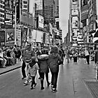 People in Times Square, New York City in B&W by Jane Neill-Hancock