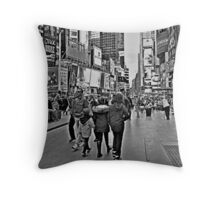 People in Times Square, New York City in B&W Throw Pillow