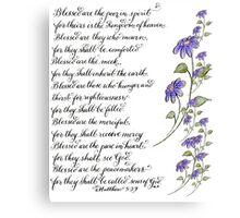 Handwritten Beatitudes of Matthew 5 Canvas Print
