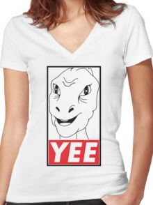 YEE Women's Fitted V-Neck T-Shirt