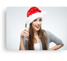 New Year Hat Girl Canvas Print