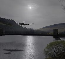 Dambusters Lancaster at the Derwent Dam at night by Gary Eason + Flight Artworks