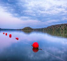 Red sunset buoys by Yevgeni Kacnelson